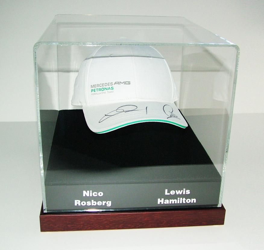 Nico rosberg - Lewis hamilton cap framed by  Frame Art Display1
