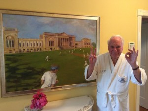 Sir Jack Hayward with painting comissioned to Debs Last framed by  Frame Art Display